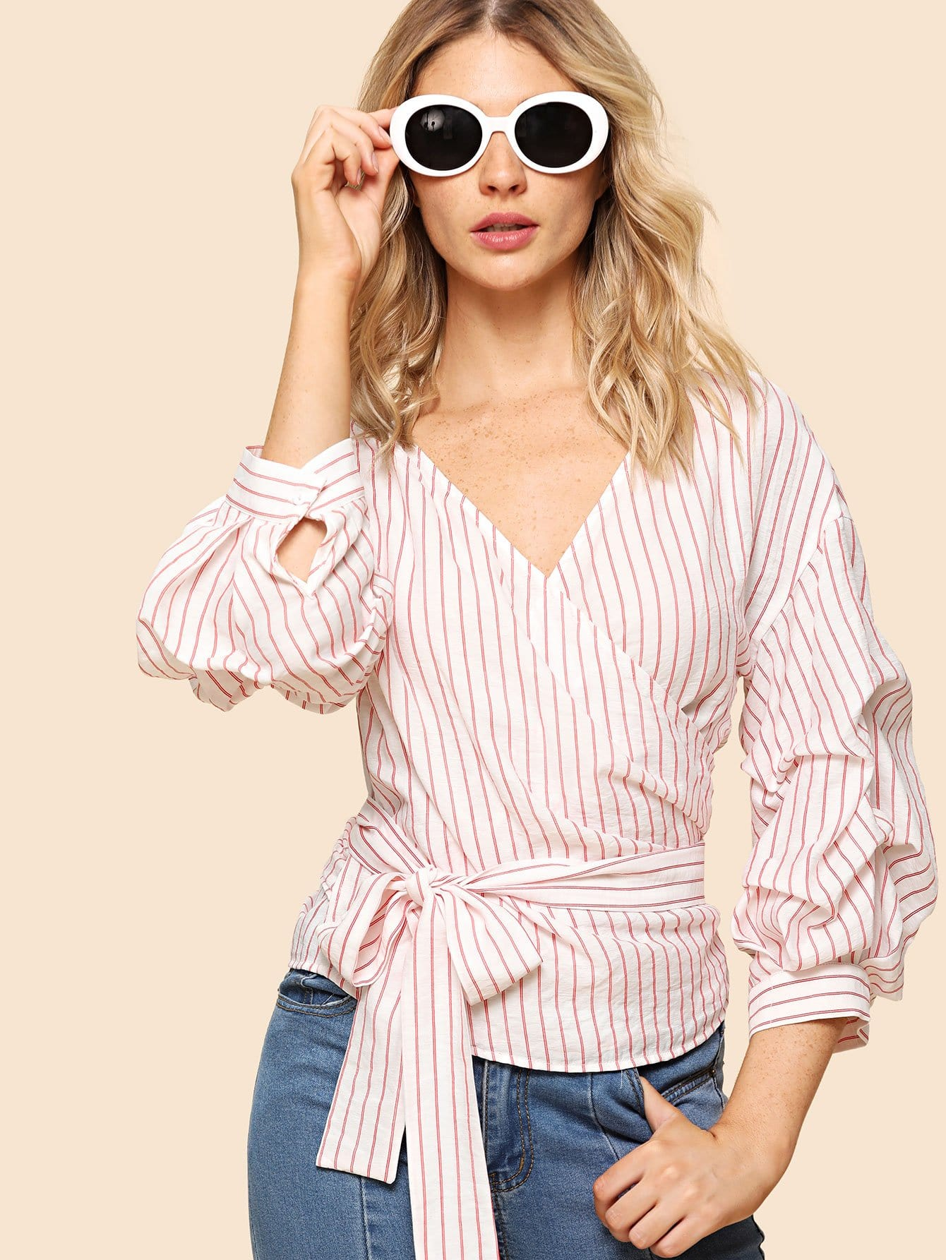 Gathered Sleeve Striped Wrap Top smile wk1202