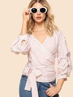 Gathered Sleeve Striped Wrap Top