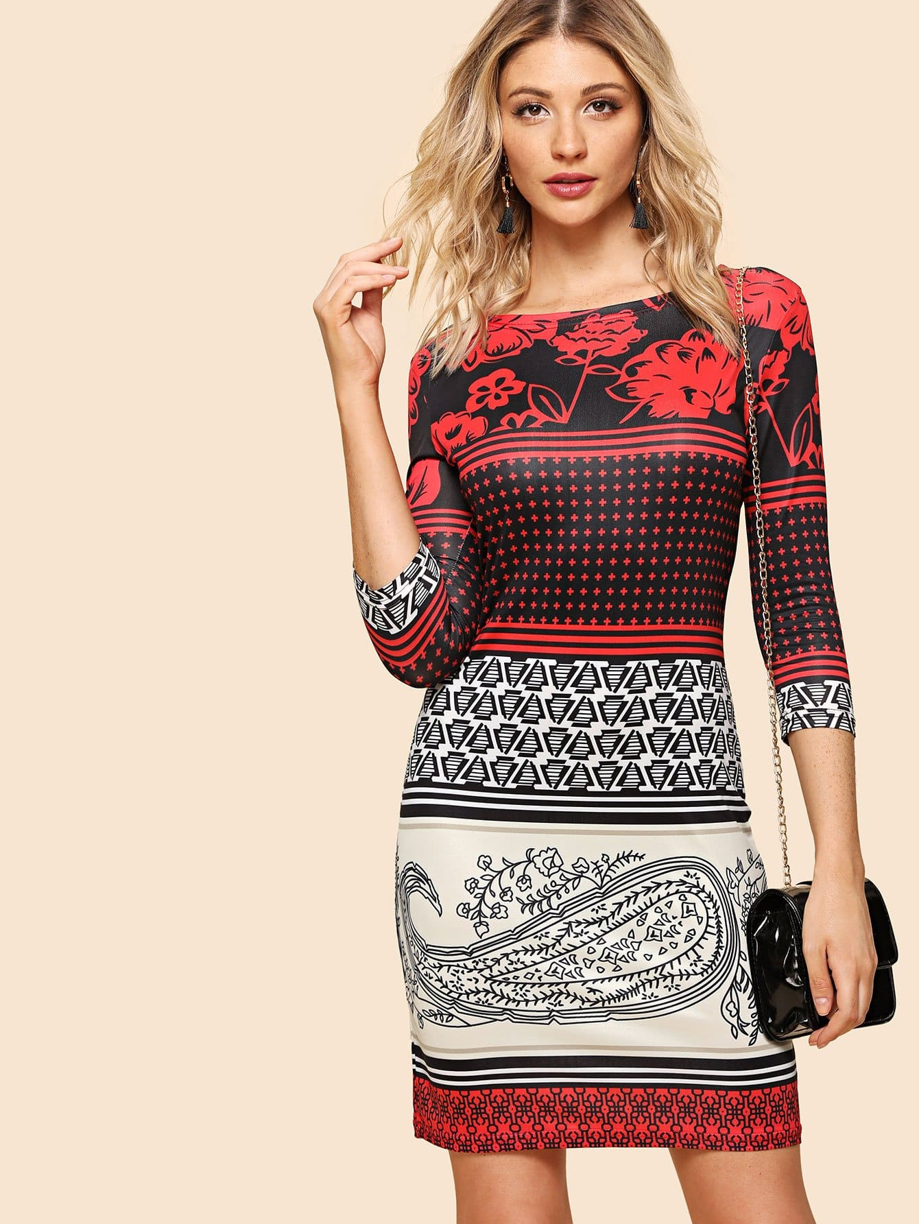 Mixed Print Dress mixed print dress