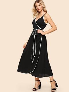 Contrast Binding Wrap Cami Dress
