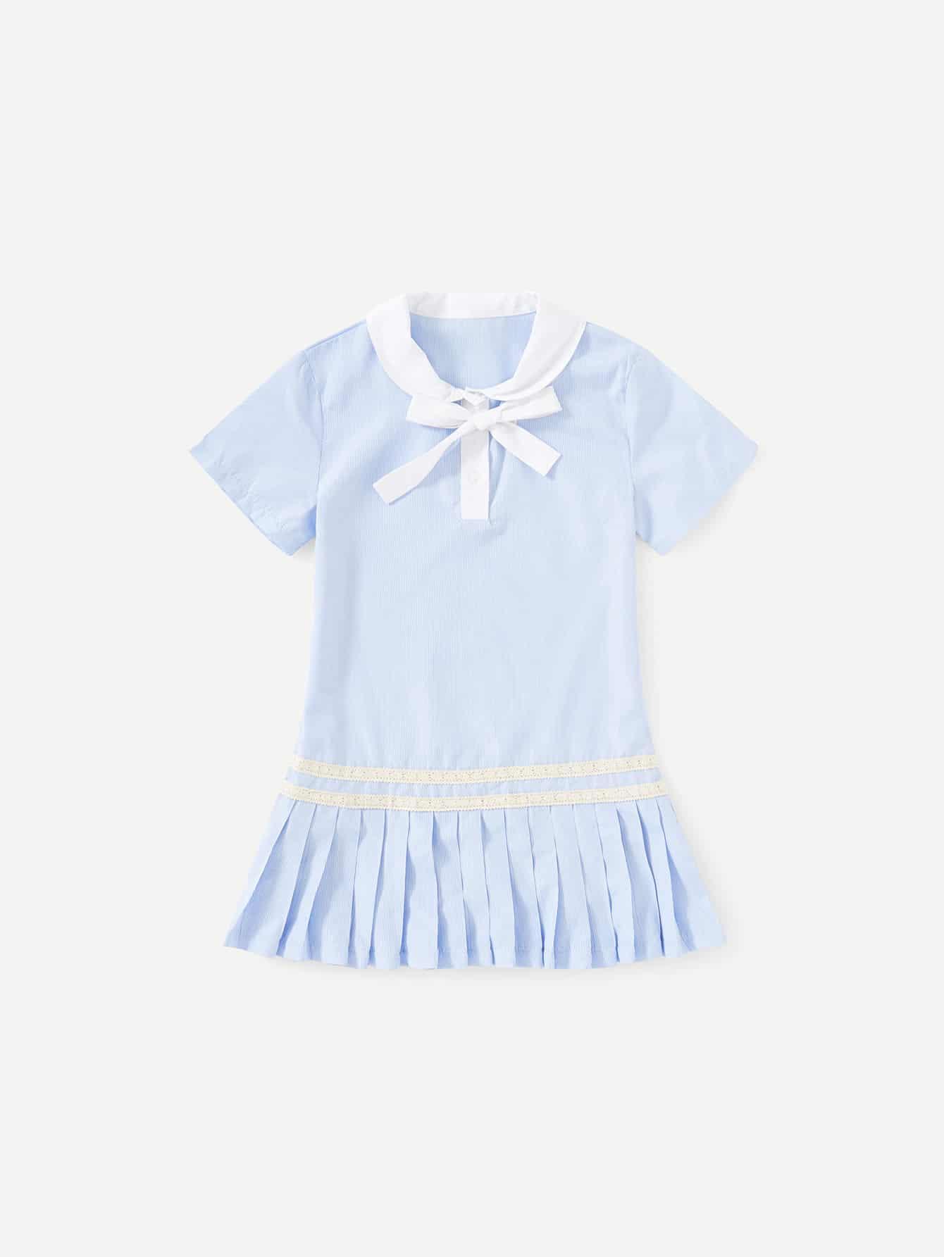 Купить Платье с полосками и аппликацией кружева, null, SheIn