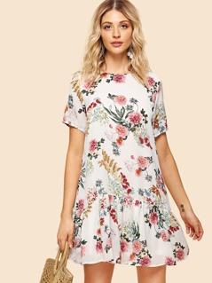 Short Sleeve Flounce Hem Floral Dress