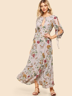 Knot Split Front Botanical Dress