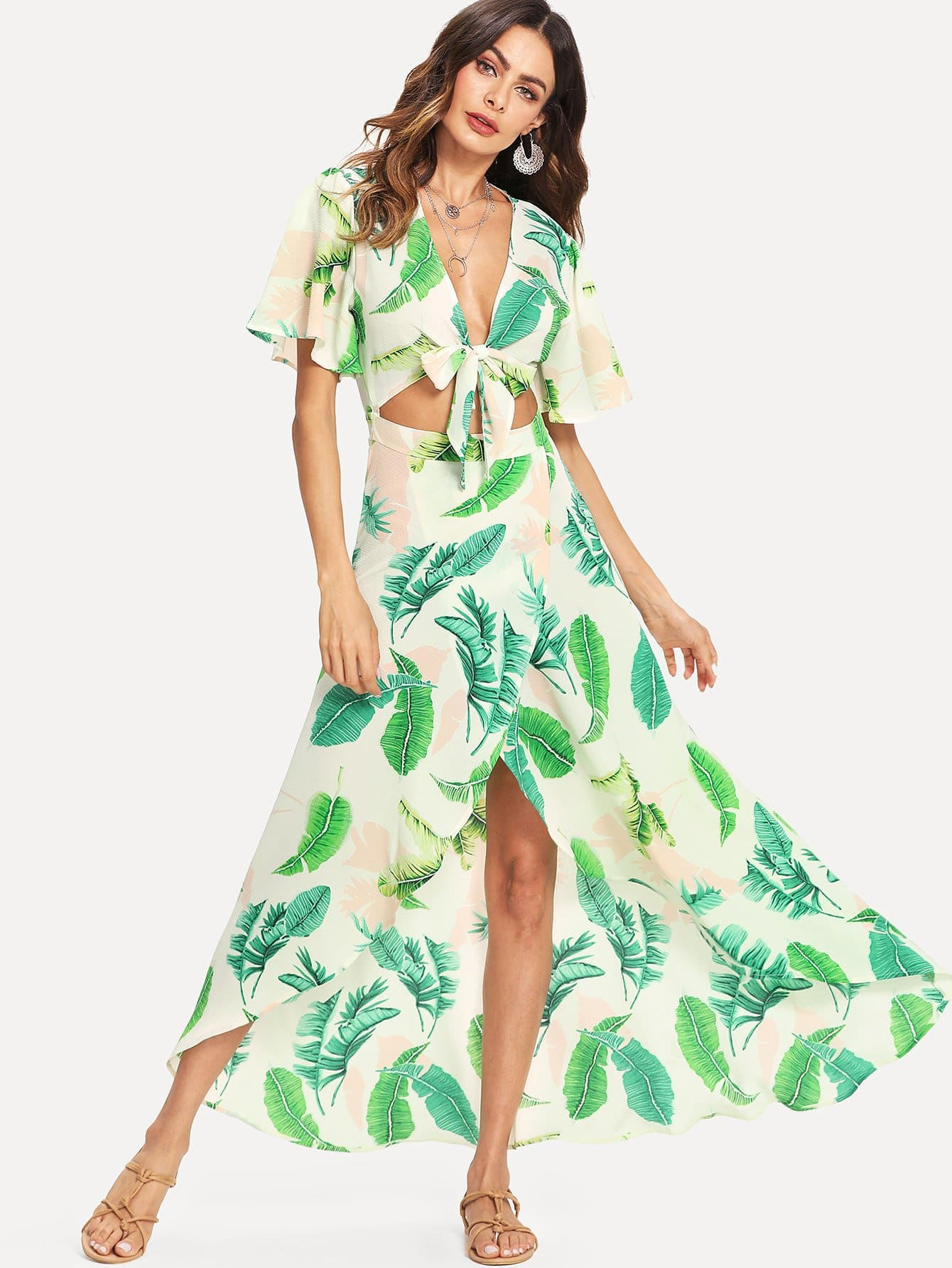 Knot Front Open Midriff Wrap Tropical Dress knot front cutout midriff halterneck gingham dress