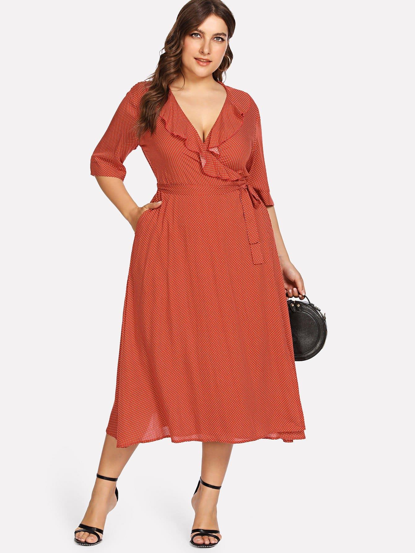Купить Ruffle V-образным вырезом Polka Dot Wrap Dress, Franziska, SheIn