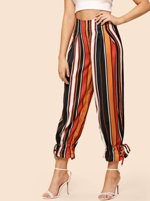 Drawstring Hem Striped Pants