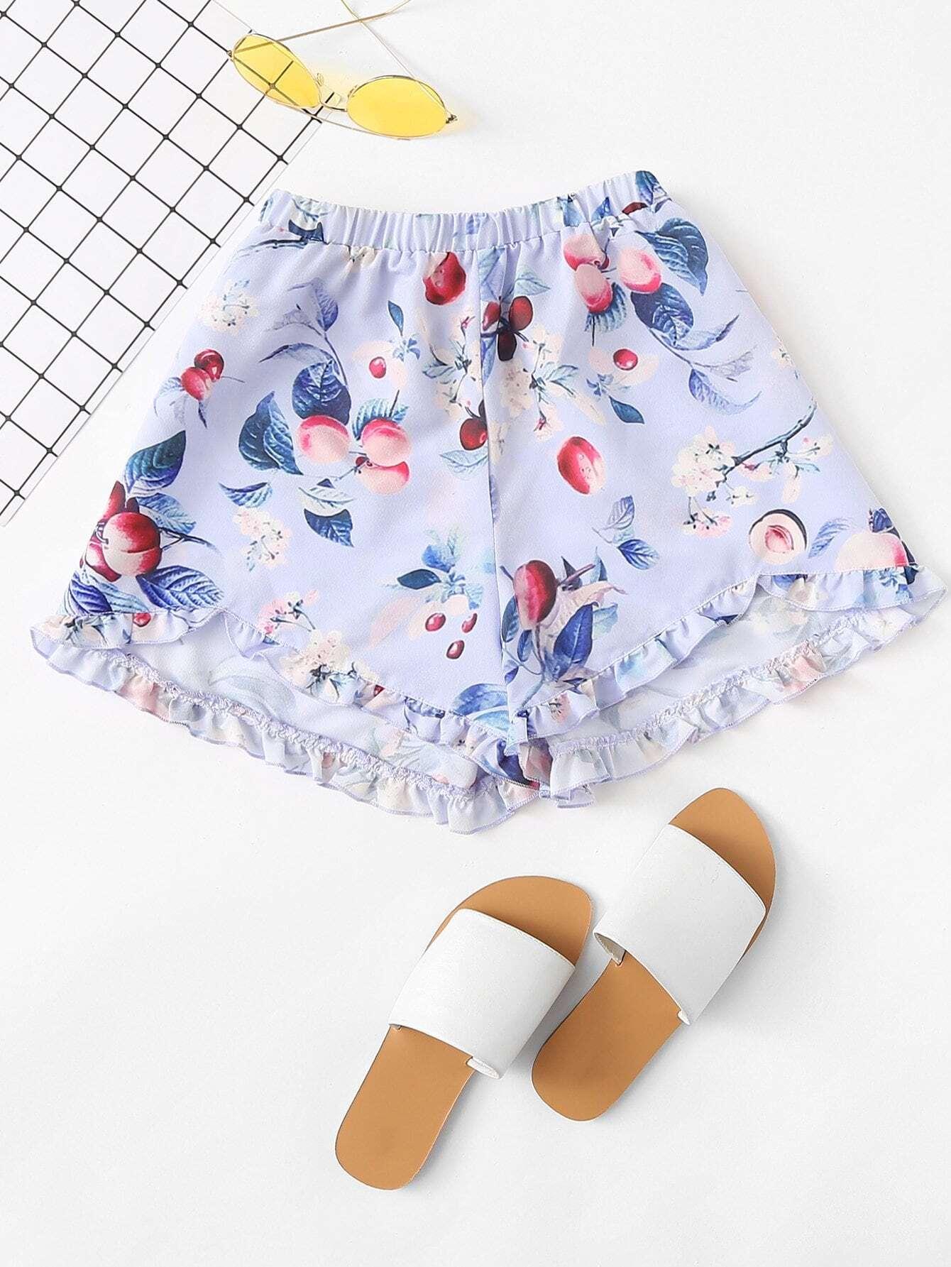 Elastic Waist Frill Hem Botanical Shorts elastic waist geo embroidered scallop hem shorts