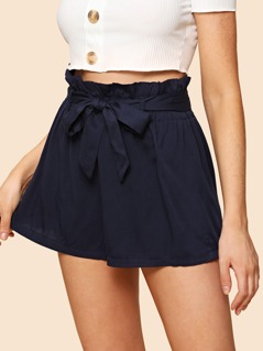 Self Belted Solid Shorts