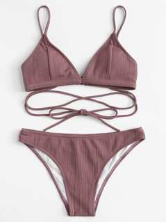 Crisscross Front Solid Bikini Set