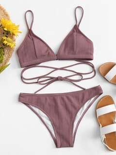 Self Tie Top With Textured Bikini Set