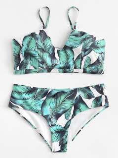 Jungle Leaf Print Bikini Set