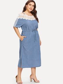 Contrast Lace Tie Waist Denim Dress