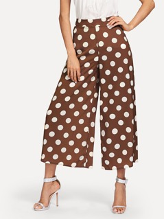Polka Dot Zip Side Wide Leg Pants