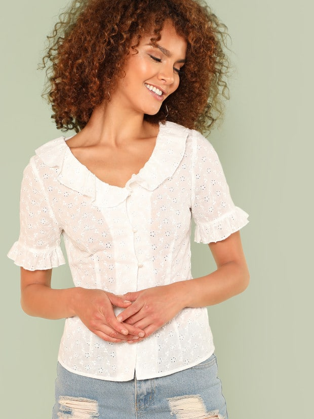 Ruffle Collar & Cuff Eyelet Embroidered Blouse men eyelet embroidered plain blouse