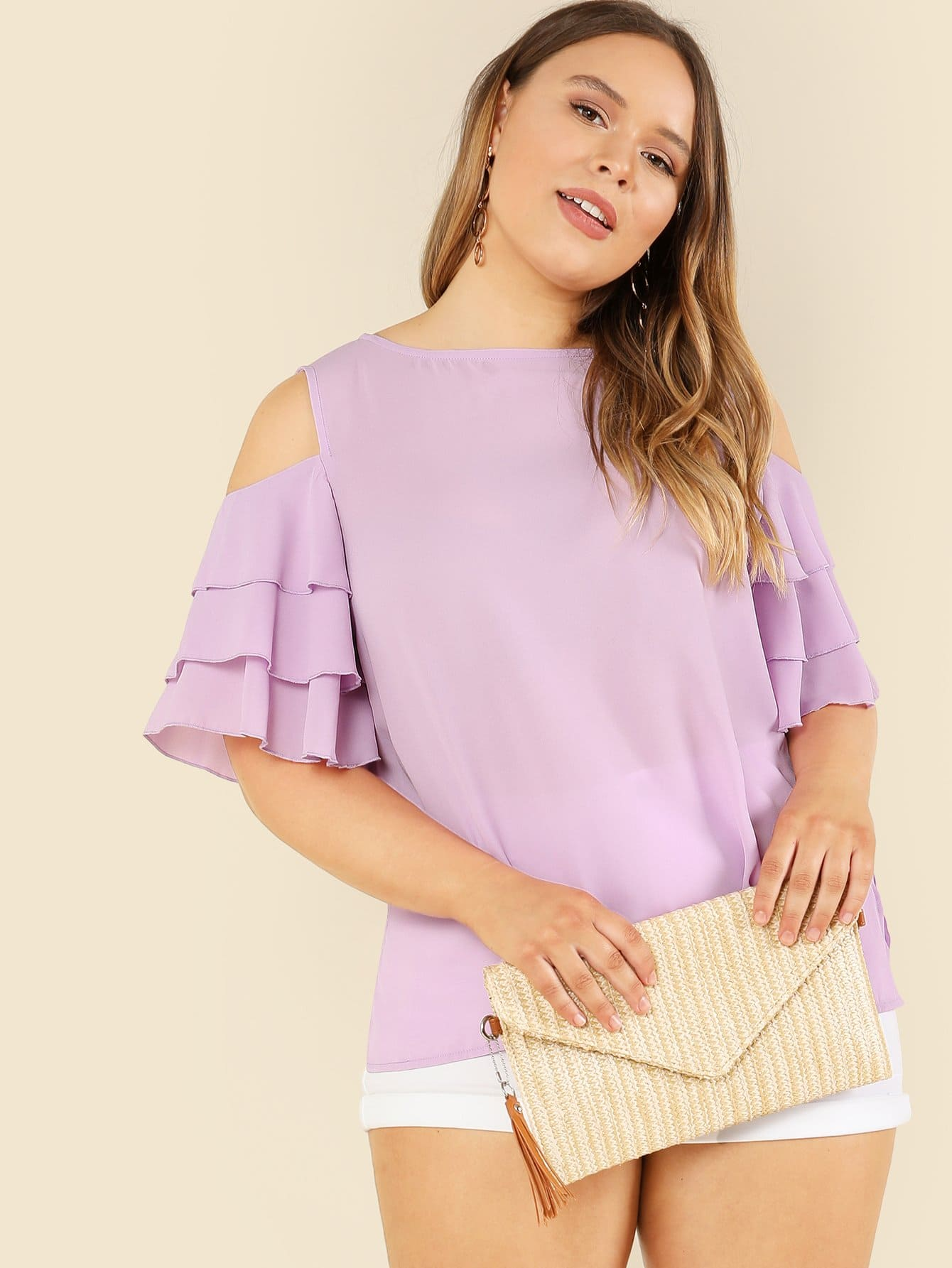 Layered Flounce Sleeve Open Shoulder Top floral lace shoulder layered flounce top