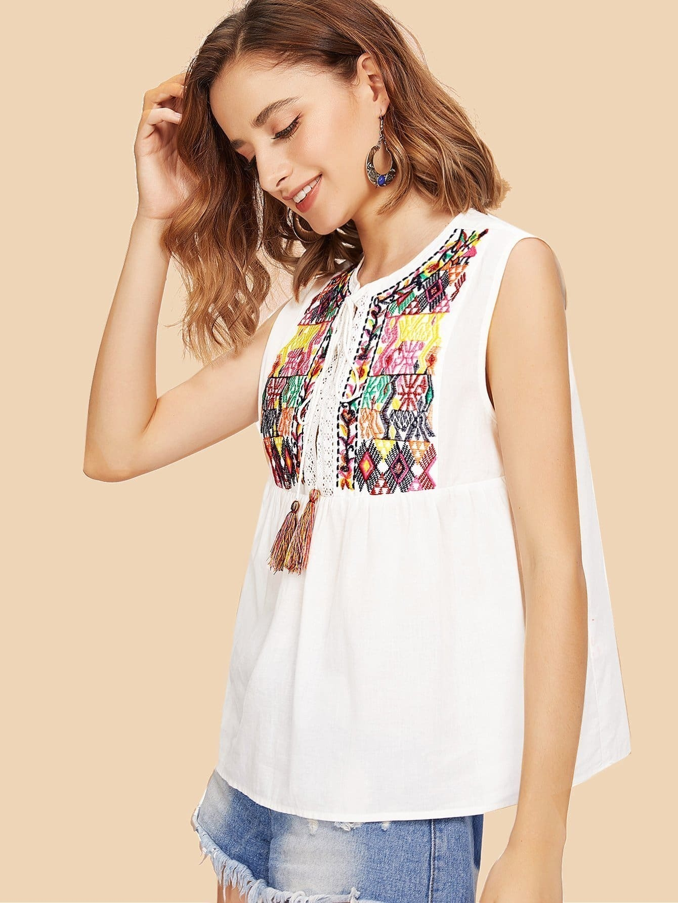 Tassel Tie Split Front Embroidered Sleeveless Top split front high neck sleeveless top