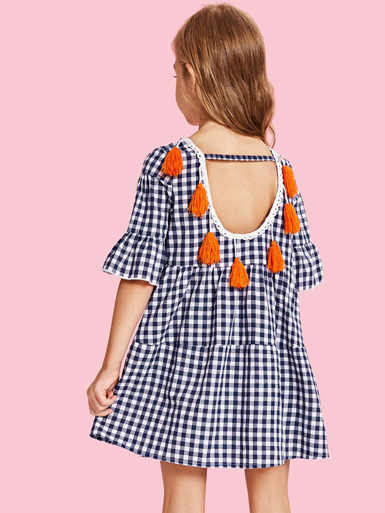 Купить Платье в клетку с кисточками и широкими рукавами, null, SheIn