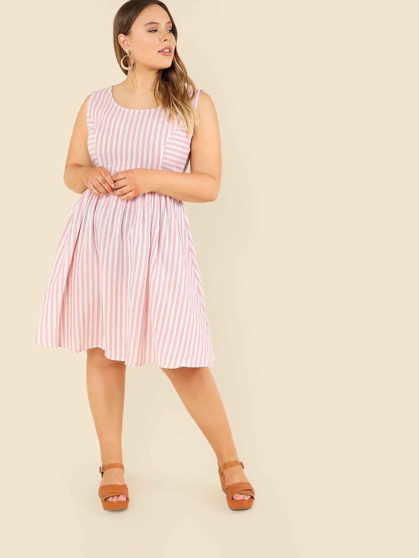 Princess Seam Striped Fit & Flare Dress платье seam seam mp002xw18uic