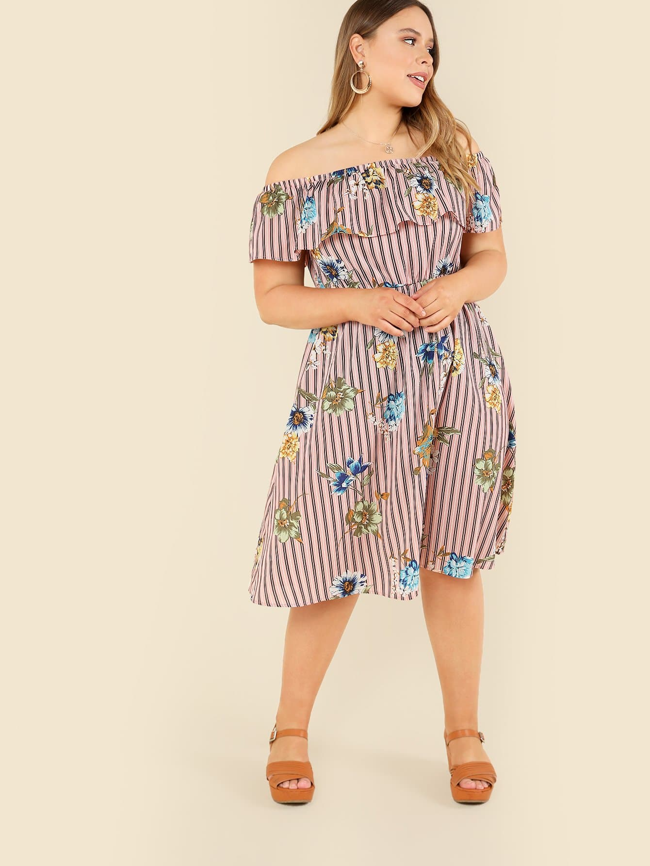 Flower Embroidered Striped Flounce Bardot Dress daisy embroidered striped night dress