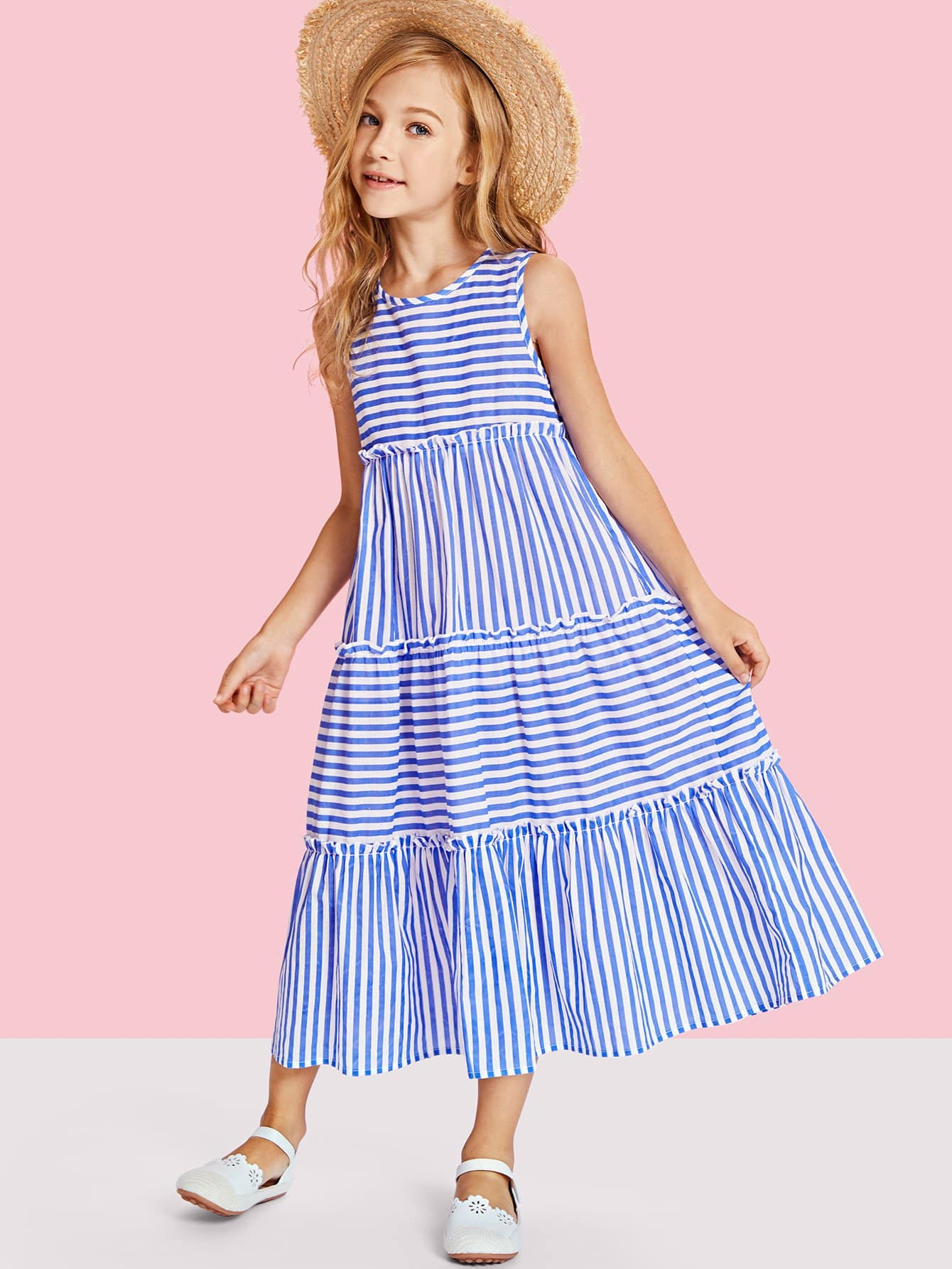 Tiered Mixed Striped Sleeveless Dress lace neck tiered striped dress