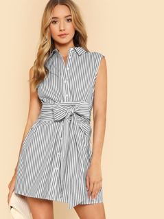 Belted Button Up Shirt Dress