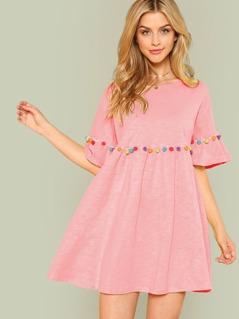 Pompom Embellished Flounce Sleeve Dress