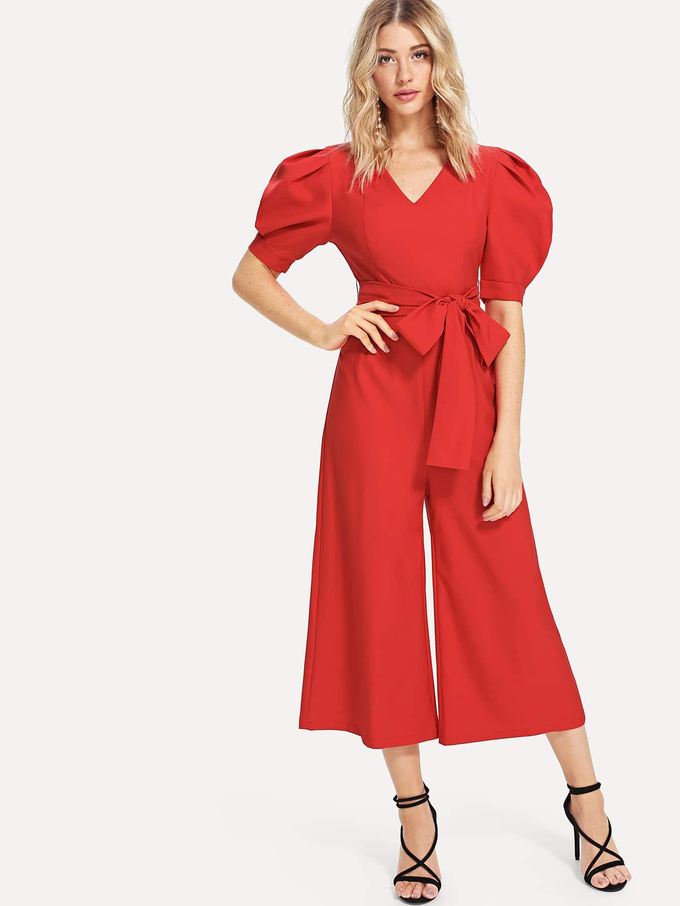 Lantern Sleeve Cut Out Front Flare Hem Jumpsuit