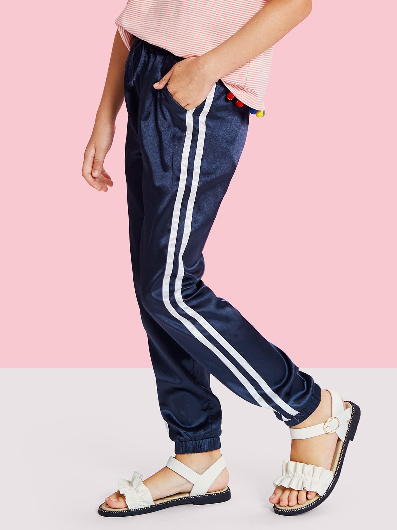 Girls Striped Side Velvet Pants striped tape applique velvet pants