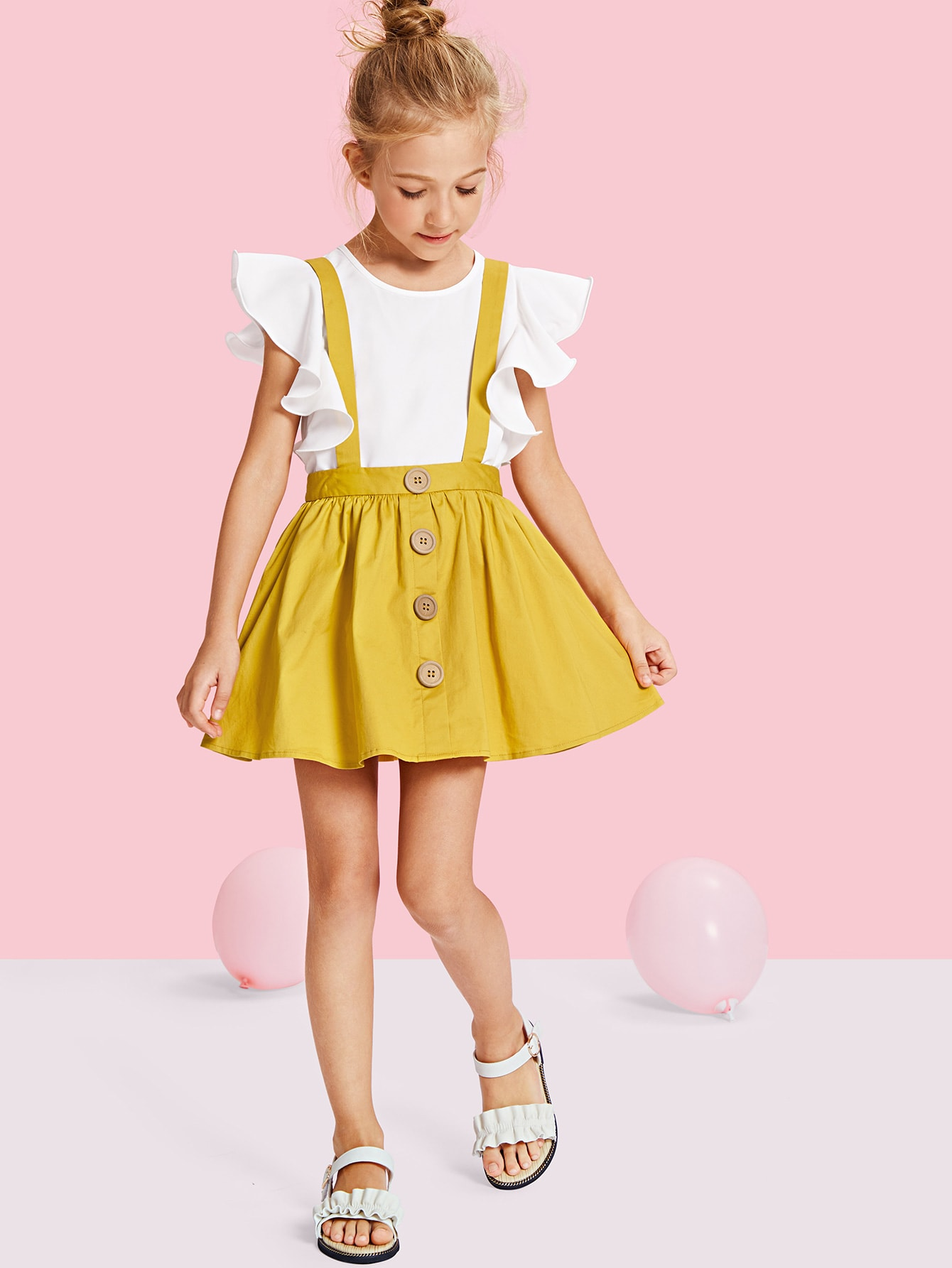 Girls Button Up Pinafore Skirt lux