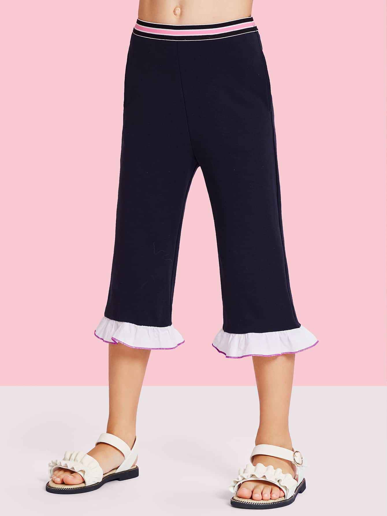 Striped Waist Contrast Ruffle Hem Pants scallop waist ruffle hem crop pants