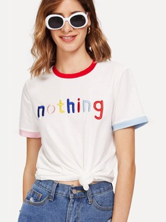 Letter Embroidered Contrast Trim Tee