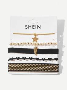 Star & Heart Detail Bracelet Set 5pcs