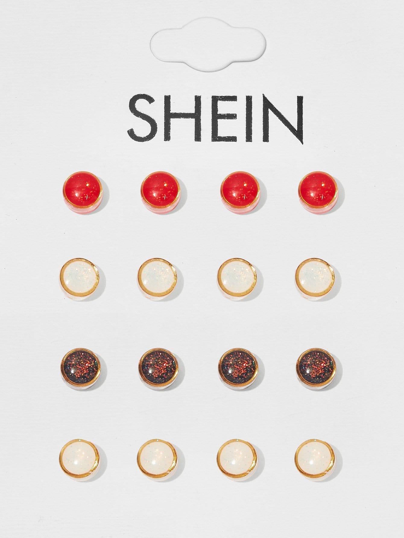 Купить Круглые серьги с круглым стержнем 8pairs, null, SheIn