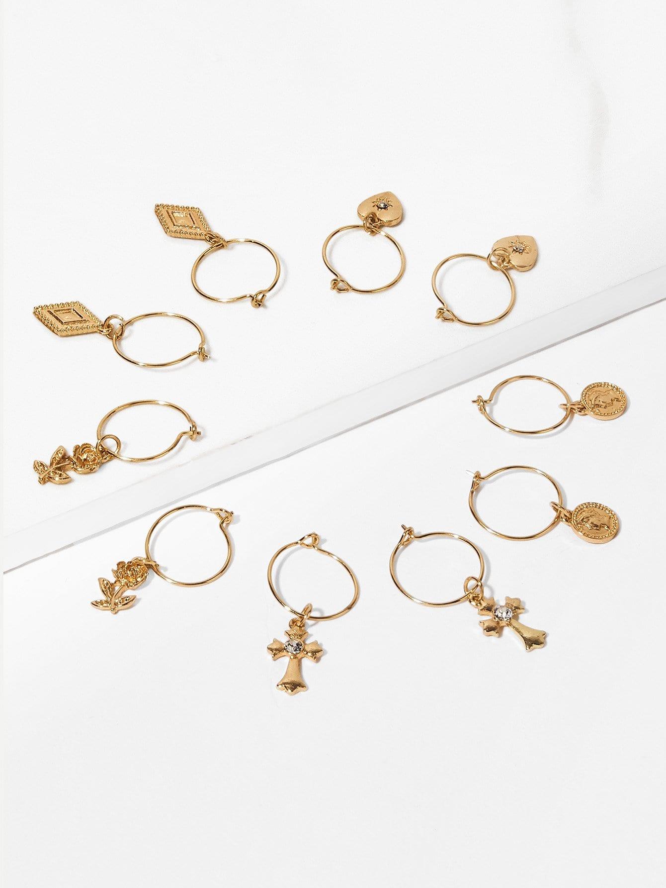 Rose Detail Hoop Drop Earrings 5pairs bow detail hoop drop earrings