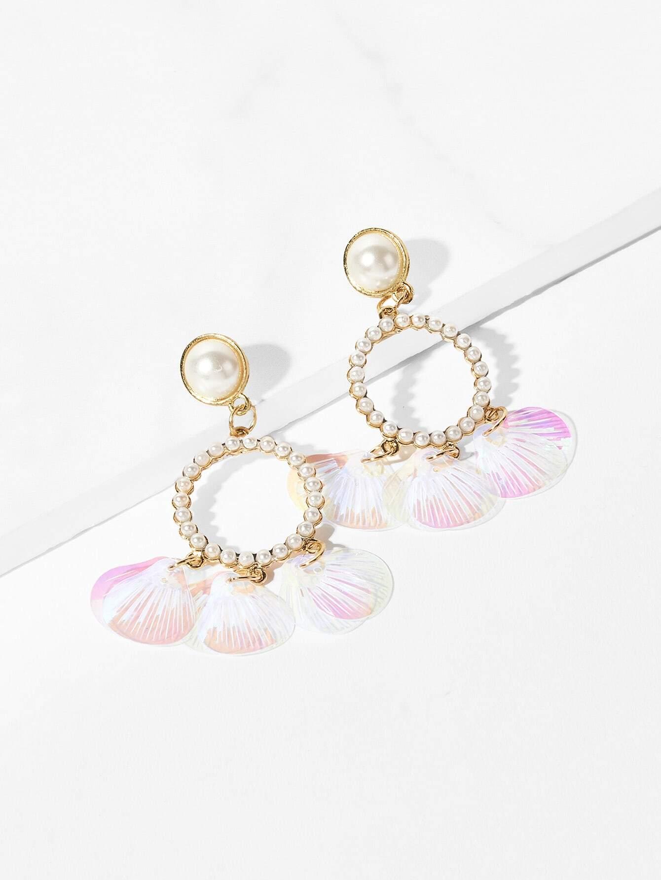 Faux Pearl & Shell Design Hoop Drop Earrings artificial shell asymmetrical metallic drop earrings