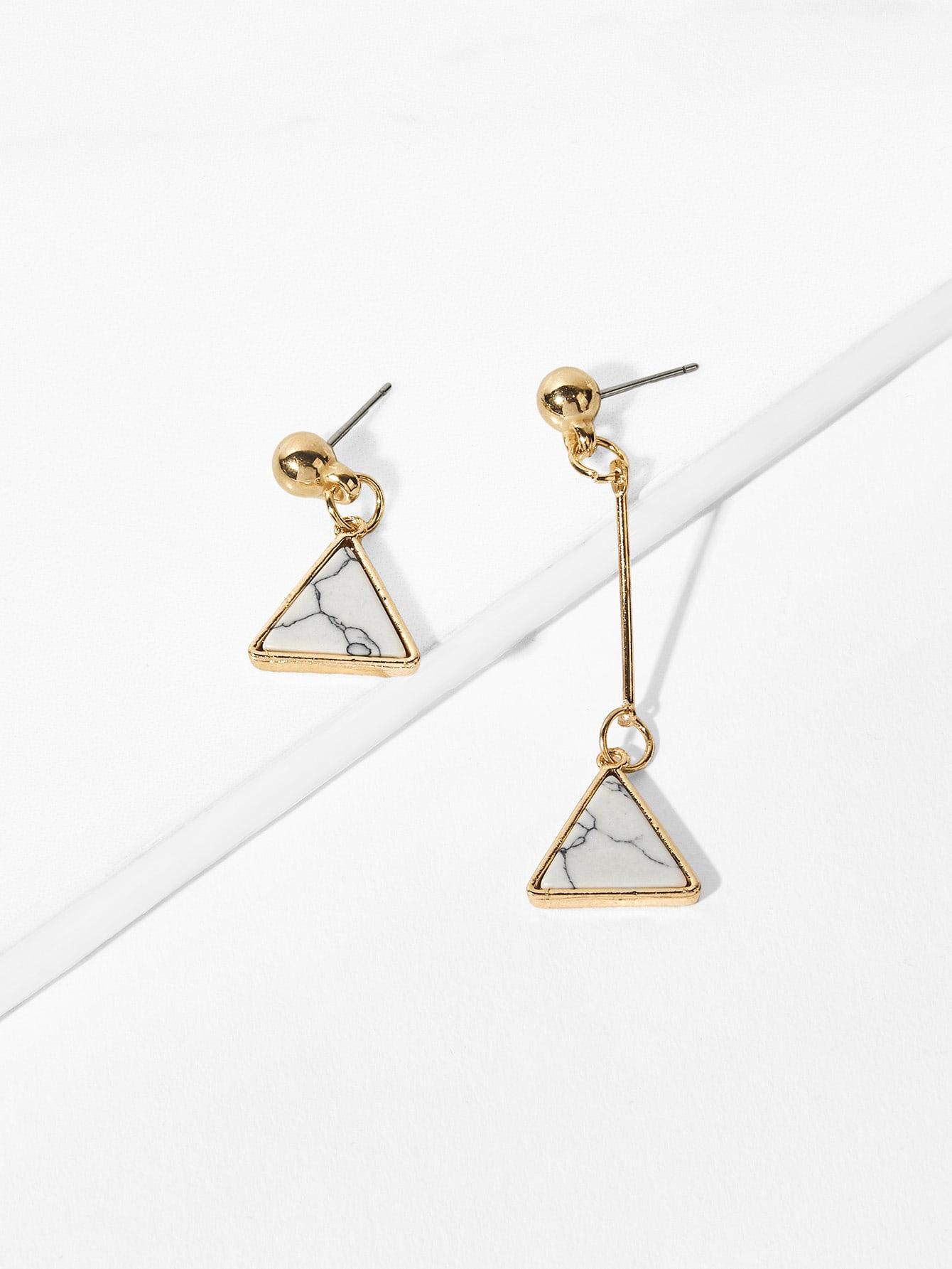 Triangle Shaped Mismatched Drop Earrings scissors shaped drop hook earrings