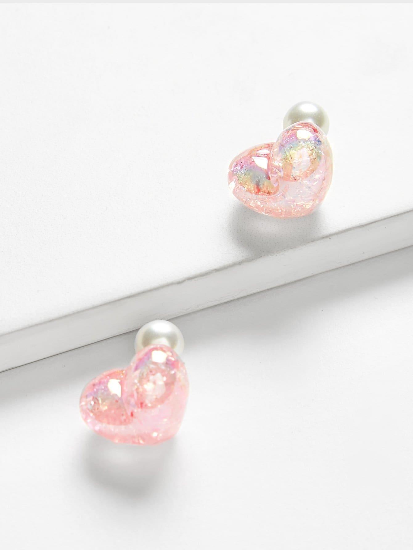 Купить Серьги с сердечками из блестящего сердца, null, SheIn