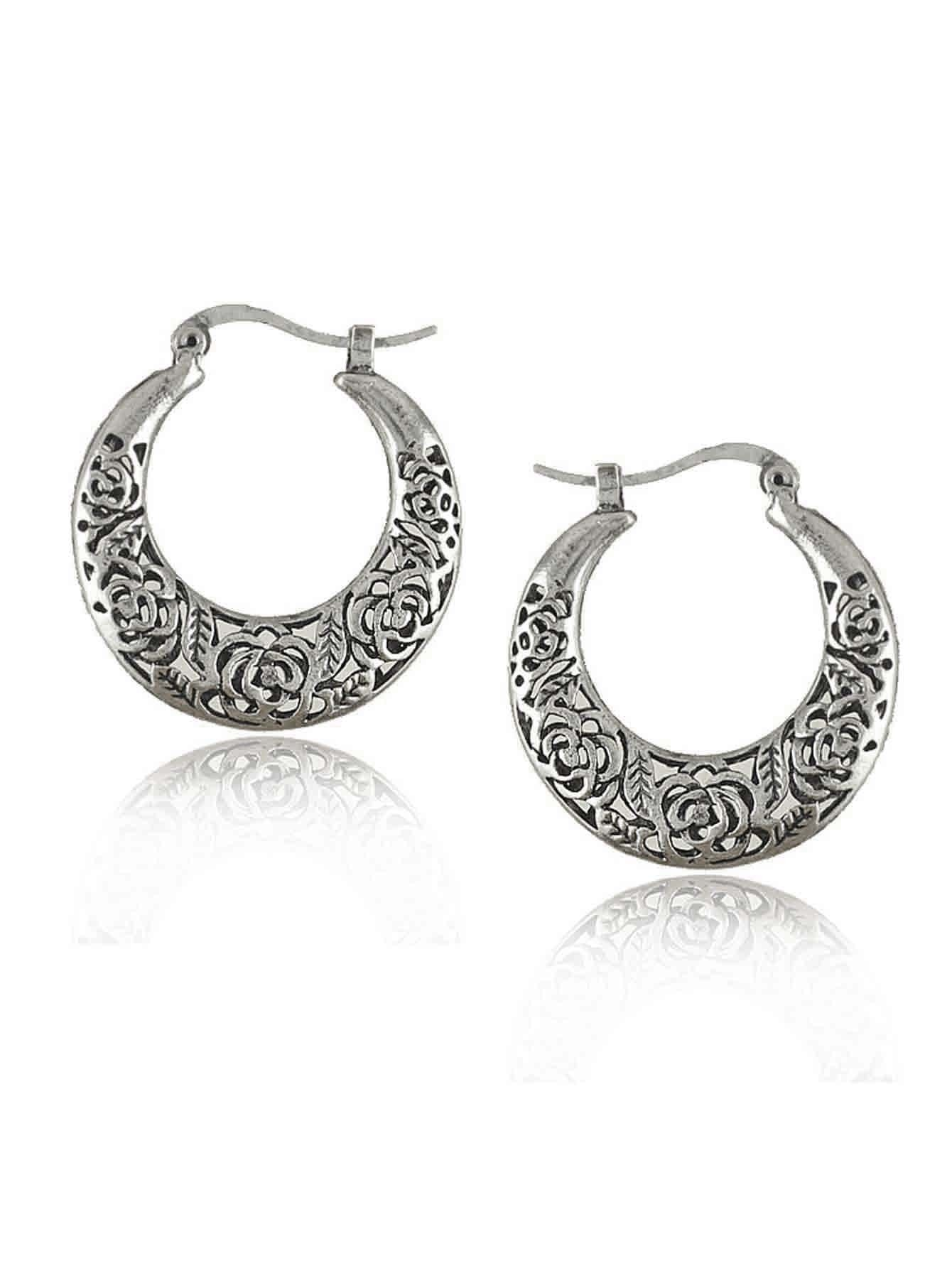 Hollow Rose Design Hoop Earrings jia kang nong