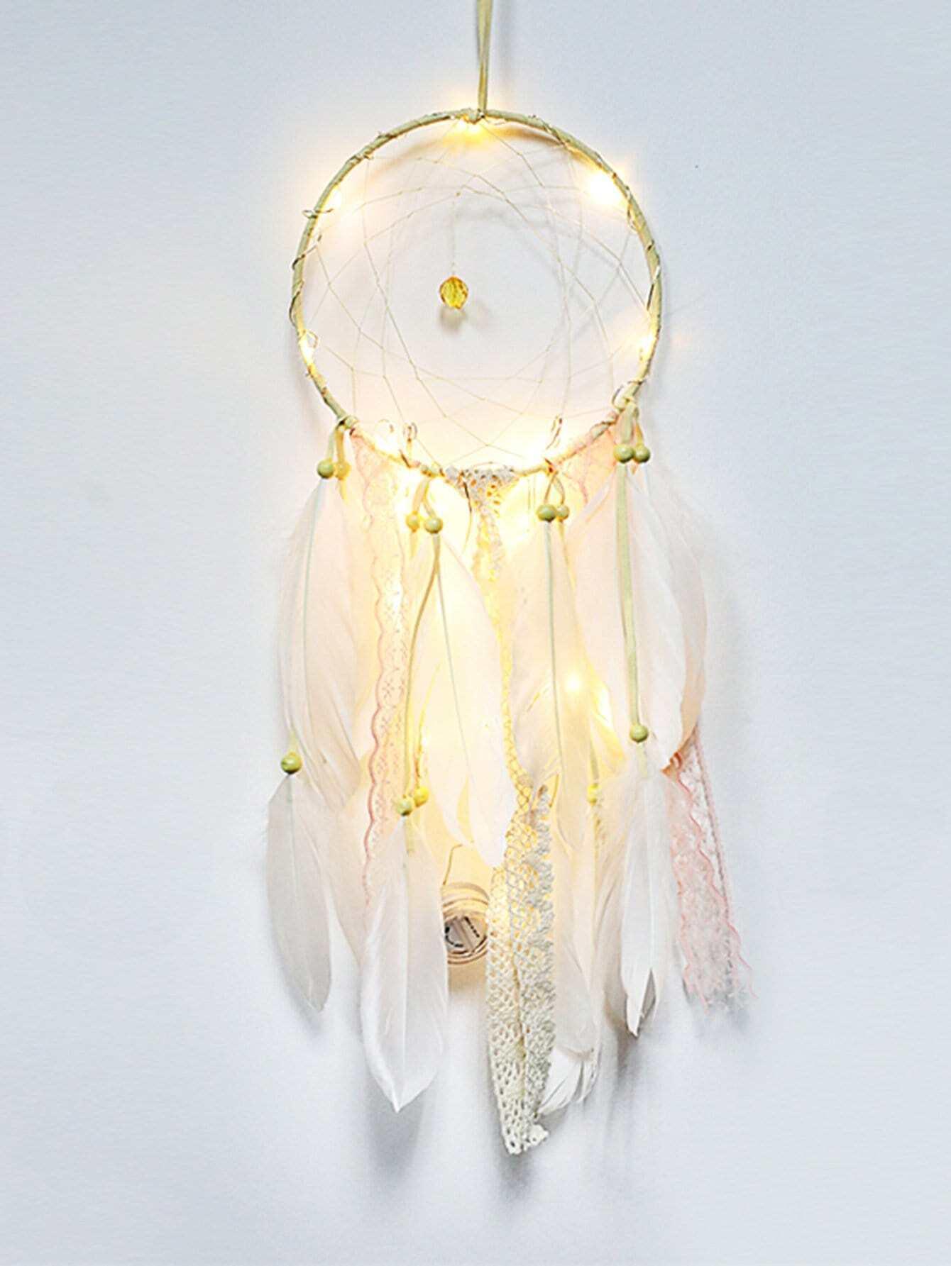 Feather Fringe Dreamcatcher Light pastel chandelier beaded feather mobile dreamcatcher