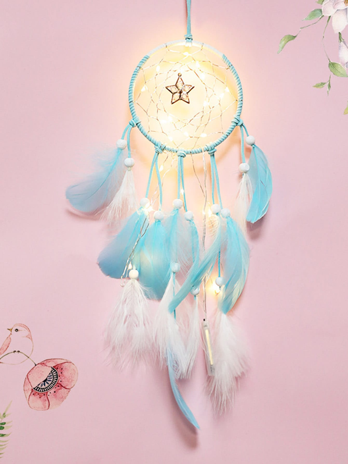Two Tone Feather Dreamcatcher Light pastel chandelier beaded feather mobile dreamcatcher