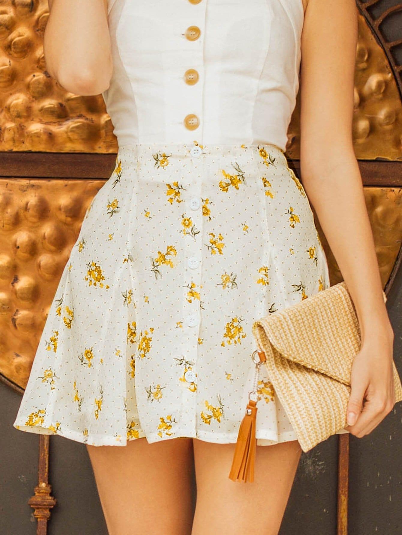 Daisy Print Button Detail Flare Skirt gold button detail bodycon skirt
