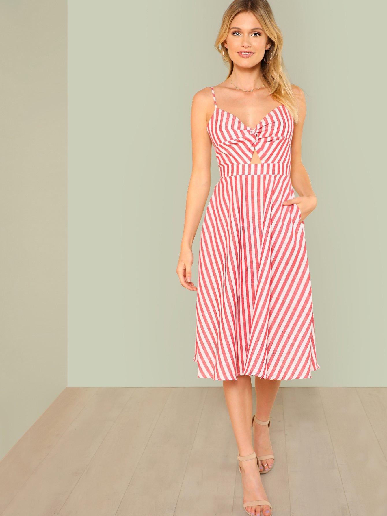 Купить Платье с полосками и вырезами на спине, Noelle Brown, SheIn