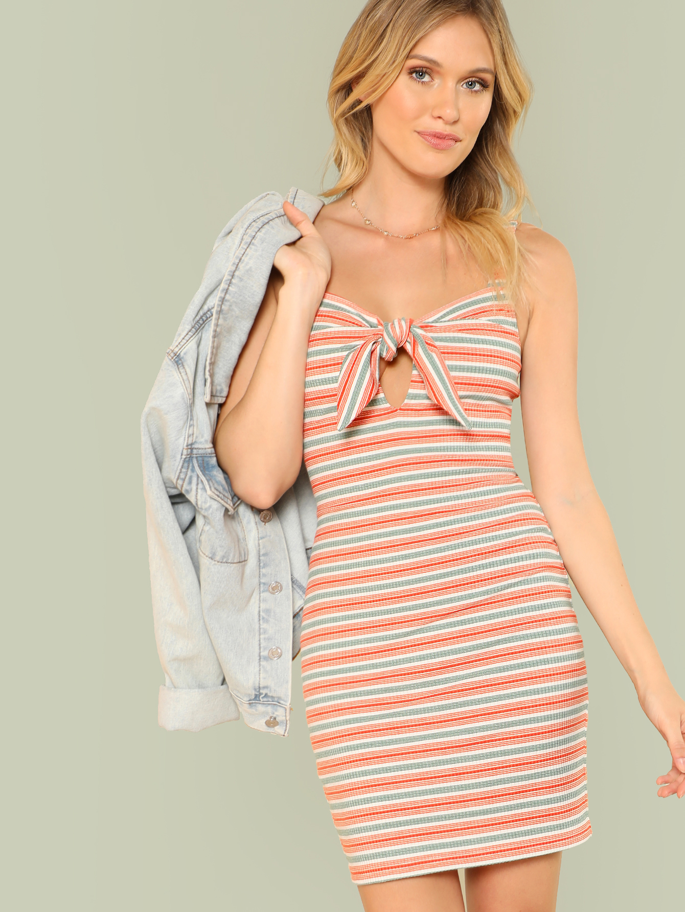 Cutout Knot Front Rib Knit Striped Dress cutout front rib knit t shirt