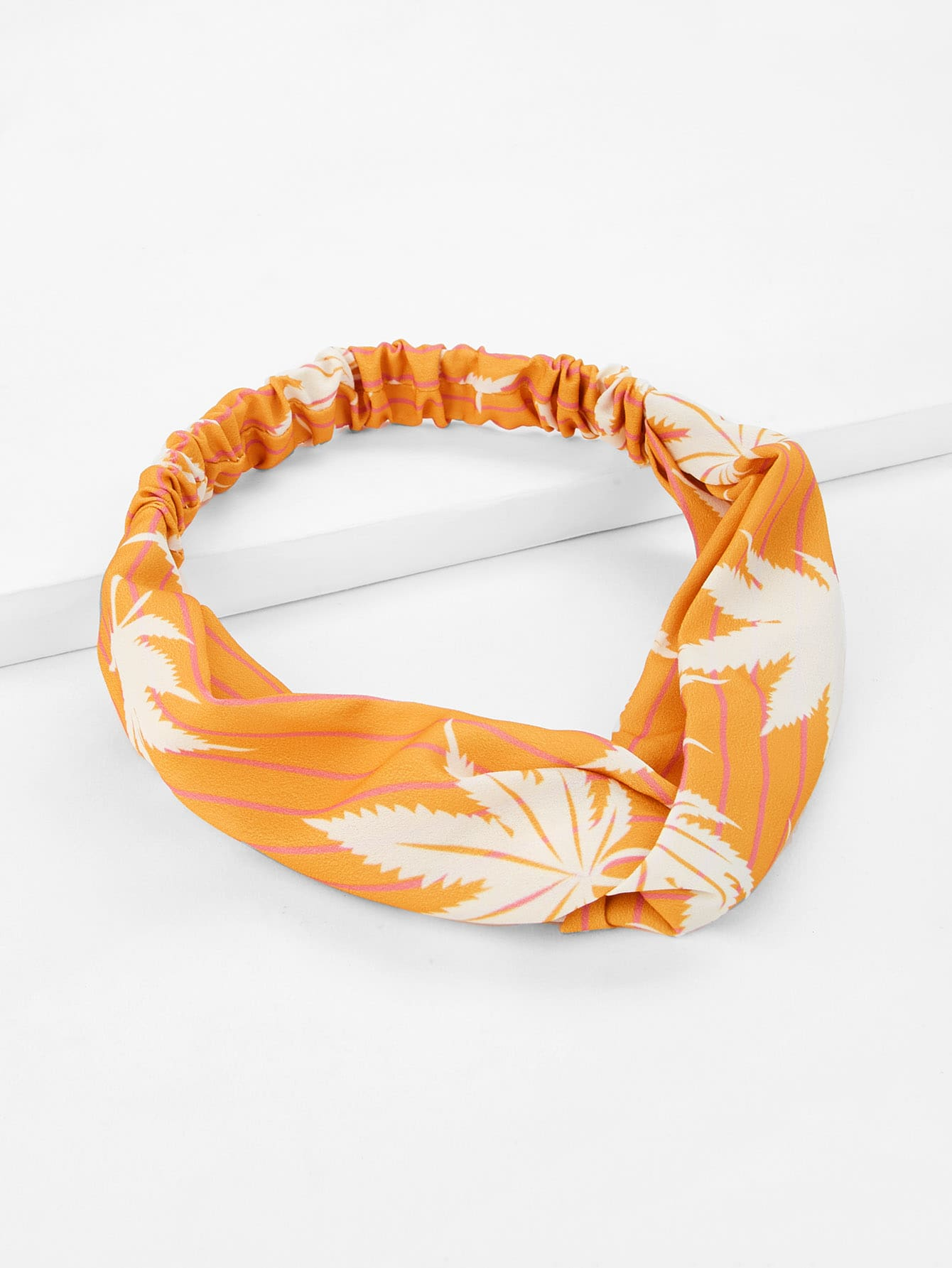 Maple Leaves Striped Headband