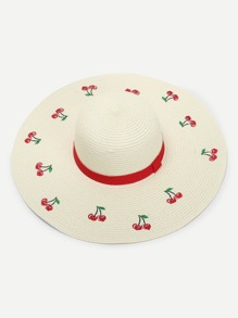 Fruit Embroidered Straw Hat