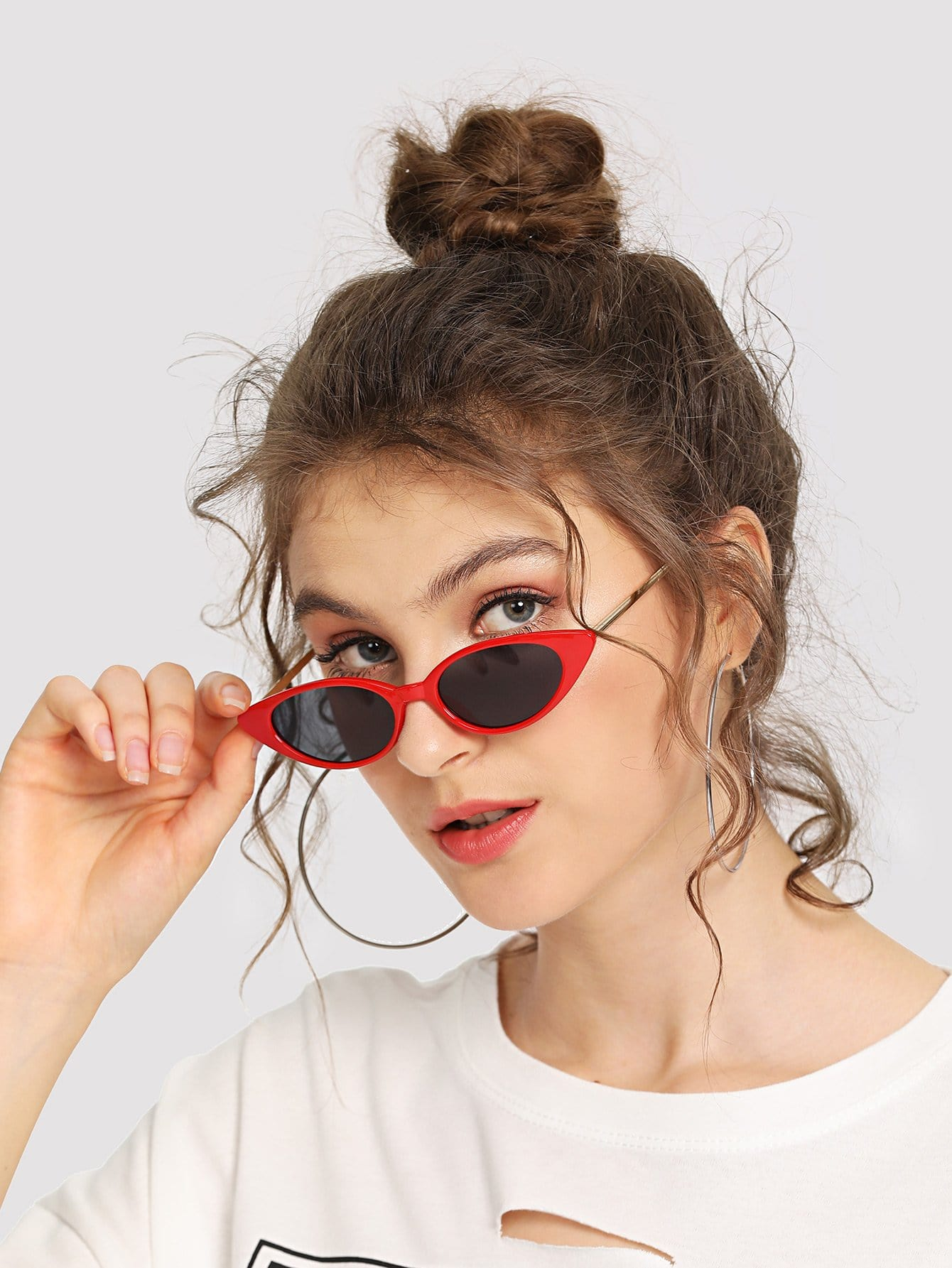 Cat Eye Metal Temple Sunglasses cat eye glasses tinize 2015 tr90 5832