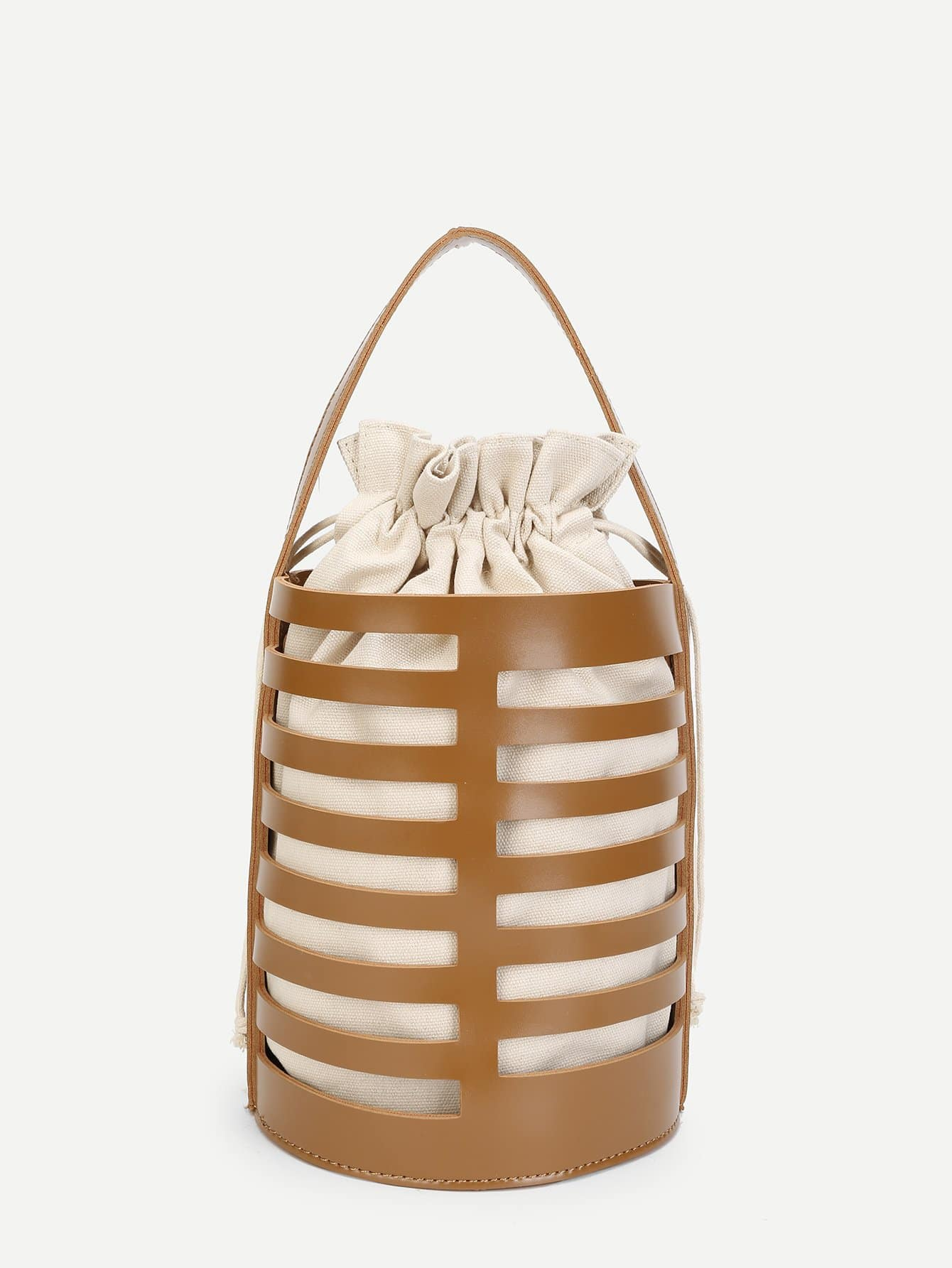 Cut Out Bucket Bag With Inner Pouch cut out shoulder bag with inner pouch