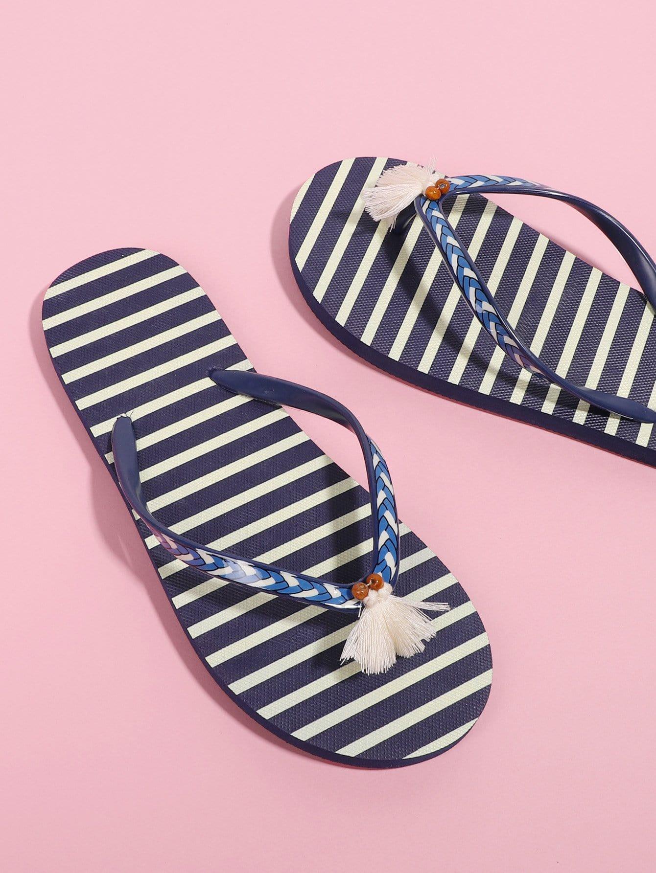 Tassel Detail Striped Flip Flops tassel detail striped swimsuit