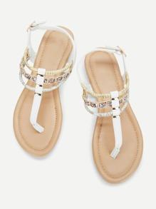 Faux Pearl Detail Toe Post Flat Sandals