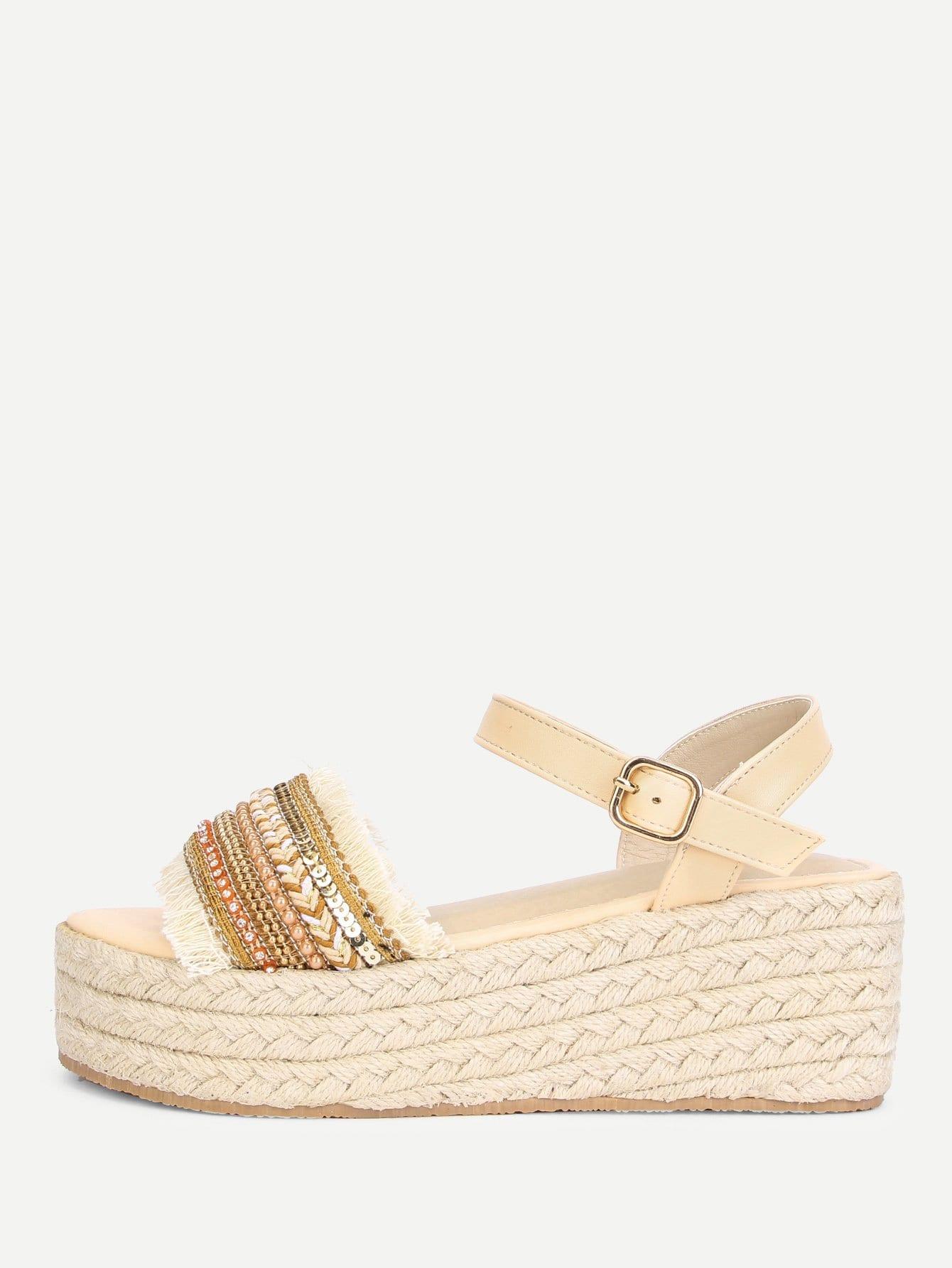 Купить Необработанные сандалии сандалии с ювелирными изделиями, null, SheIn